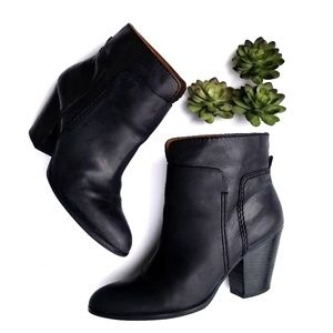 Nine West HollyDay Navy Leather Ankle Bootie